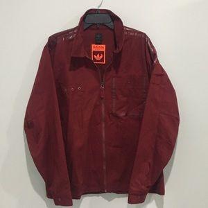 RARE Adidas Safety canvas jacket coat maroon